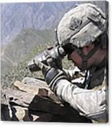 U.s. Army Soldier Monitors An Afghan Canvas Print