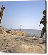 U.s. Army Soldier On A Foot Patrol Canvas Print
