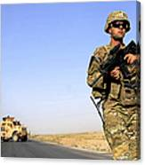 U.s. Army Soldier On Patrol Canvas Print
