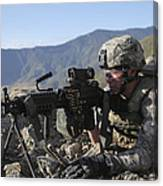 U.s. Army Soldier Provides Overwatch Canvas Print