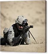 U.s. Army Soldier Sights In A Barrett Canvas Print