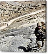 U.s. Army Soldiers And Afghan Border Canvas Print