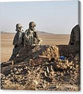 U.s. Army Soldiers At A Checkpoint Canvas Print