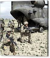 U.s. Army Soldiers Board A Ch-47 Canvas Print