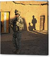 U.s. Army Soldiers Conduct A Dismounted Canvas Print