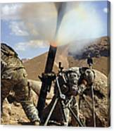 U.s. Army Soldiers Firing A 120mm Canvas Print