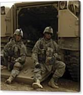 U.s. Army Soldiers Waiting At Patrol Canvas Print