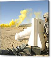 U.s. Army Specialist Calls In For An Canvas Print