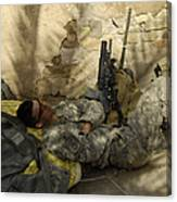 U.s. Army Specialist Takes A Nap Canvas Print