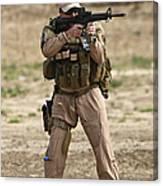 U.s. Contractor Firing A M4 Carbine Canvas Print