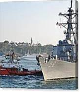Us Cruiser Docking In Istanbul Canvas Print
