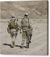 U.s. Marine And German Soldier Walk Canvas Print