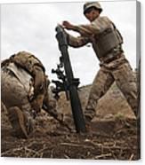 U.s. Marine Drops A Mortar Round Canvas Print