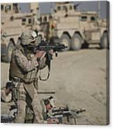U.s. Marine Fires A G36k Carbine Canvas Print