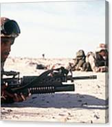 U.s. Marine Guards The Camp Perimeter Canvas Print