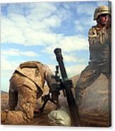 U.s. Marine Holds A Mortar Tube Steady Canvas Print