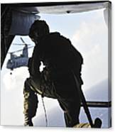 U.s. Marine Looks Out The Back Canvas Print