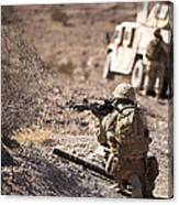 U.s. Marine Scans His Area While Canvas Print