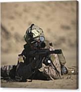 U.s. Marine Sights In A Barrett M82a1 Canvas Print
