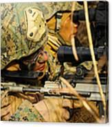 U.s. Marine Uses A Spotting Scope Canvas Print