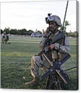 U.s. Marine Utilizes A Satellite Radio Canvas Print
