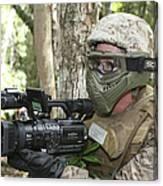 U.s. Marine Videotapes Combat Exercises Canvas Print