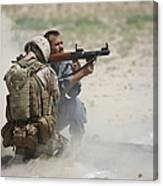U.s. Marine Watches An Afghan Police Canvas Print