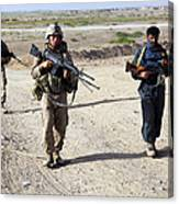U.s. Marines And Afghan National Police Canvas Print