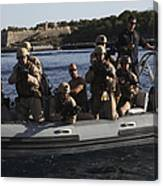 U.s. Marines Approach A Suspect Vessel Canvas Print