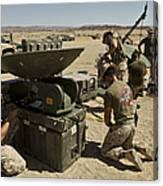 U.s. Marines Assemble A Satellite Dish Canvas Print