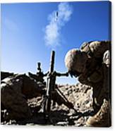 U.s. Marines Brace Themselves While Canvas Print