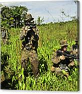 U.s. Marines Guard An Extraction Point Canvas Print
