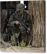 U.s. Marines Prepare To Enter A House Canvas Print