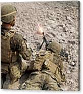 U.s. Marines Provide Suppressive Fire Canvas Print