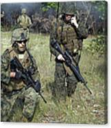 U.s. Marines Secure A Perimeter Canvas Print
