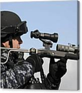U.s. Navy Chief Uses An La9p Nonlethal Canvas Print
