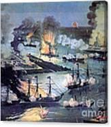 U.s. Navy Destroys Rebel Gunboats Canvas Print