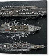 U.s. Navy Ships Conduct A Replenishment Canvas Print