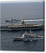 U.s. Navy Ships Transit The Atlantic Canvas Print