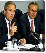 U.s. President George W. Bush Answers Canvas Print