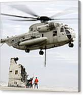 U.s. Sailors Assist A Ch-53d Sea Canvas Print