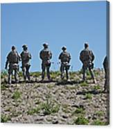 U.s. Soldiers Looking Over The Side Canvas Print