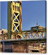 Usa, California, Sacramento, Tower Bridge Over Sacramento River Canvas Print