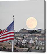 Usa Flag And Moon Canvas Print