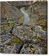 Usa, Oregon, Smith Rock State Park, Rocky Landscape With River View Canvas Print