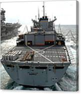 Usns Supply Conducts A Replenishment Canvas Print
