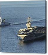 Uss Abraham Lincoln And French Navy Canvas Print