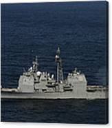 Uss Bunker Hill Fires Two Mk-45 5 Canvas Print