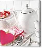 Valentine Cookies With Teapot And Cups Canvas Print