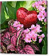 Valentine Heart And Flowers Canvas Print